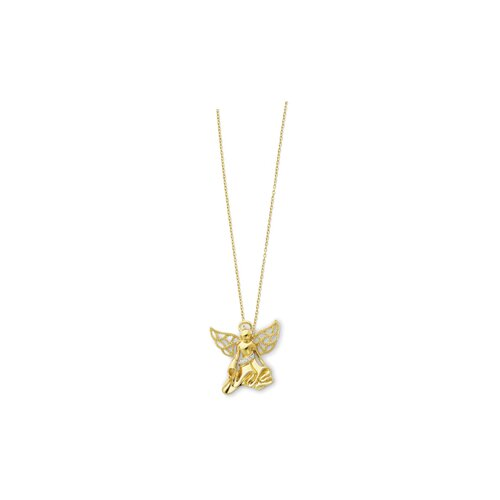 Jewelryweb Sterling Silver Gold-plated CZ Angel Necklace - 18 Inch