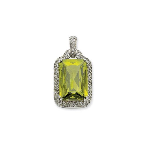 Jewelryweb Sterling Silver Green and Clear CZ Pendant