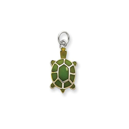 Jewelryweb Sterling Silver Green Enameled Turtle Pendant