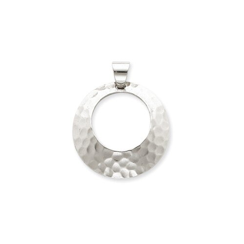 Jewelryweb Sterling Silver Hammered Circle Pendant