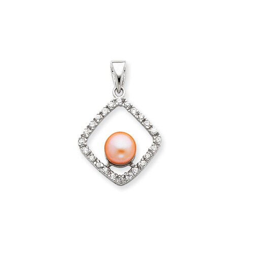 Jewelryweb Sterling Silver Imitation Cultured Pearl and CZ Pendant