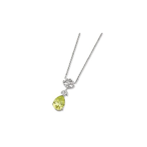 Sterling Silver Light Green CZ Necklace - 16 Inch- Spring Ring