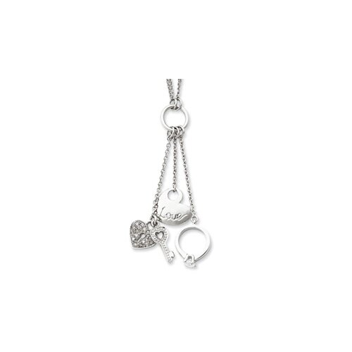 Sterling Silver Love CZ Drop Necklace - 17 Inch- Lobster Claw
