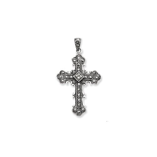 Jewelryweb Sterling Silver Marcasite Cross Pendant