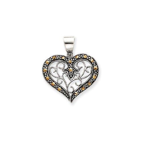 Jewelryweb Sterling Silver Marcasite Heart Pendant
