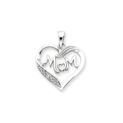 Jewelryweb Sterling Silver MOM CZ Heart Pendant