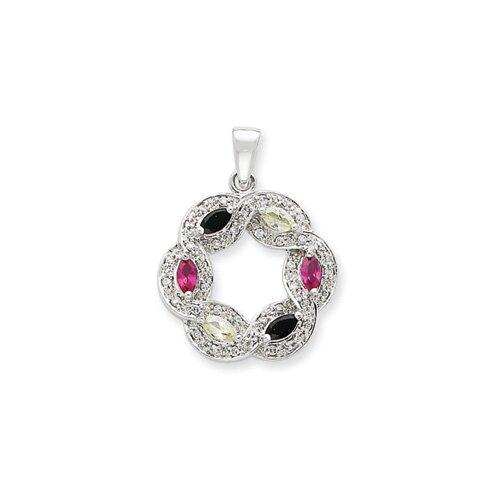Jewelryweb Sterling Silver Multi-colored CZ Pendant