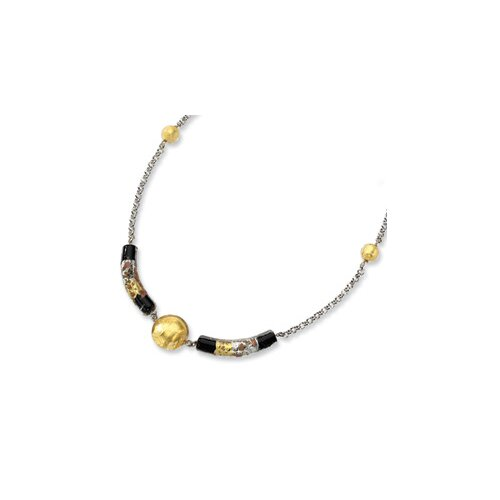 Sterling Silver Murano Glass Bead Onyx Necklace - 16 Inch