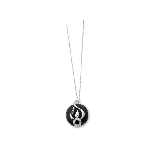 Sterling Silver Onyx and CZ Necklace - 18 Inch