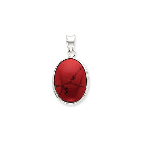 Jewelryweb Sterling Silver Oval Red Stone Pendant