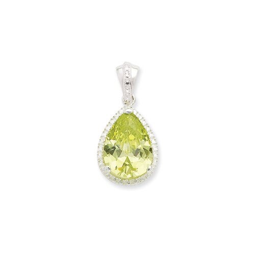 Sterling Silver Pear Shape Green CZ Pendant