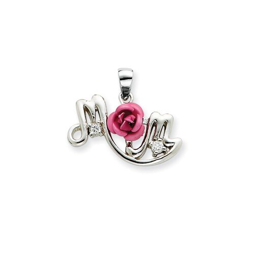 Sterling Silver Pink Flower and CZ Mom Pendant