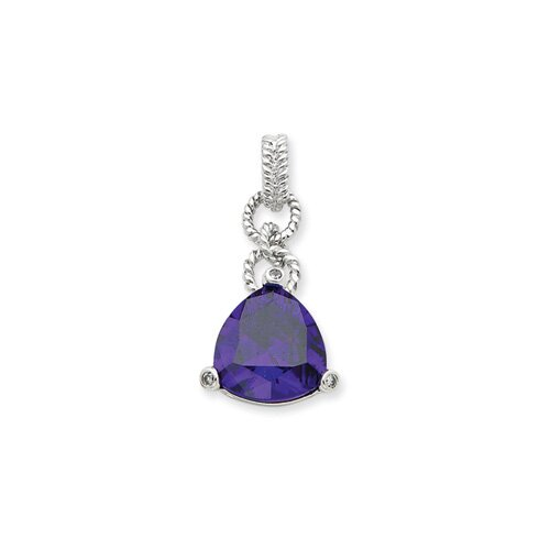 Jewelryweb Sterling Silver Purple CZ Triangle Pendant
