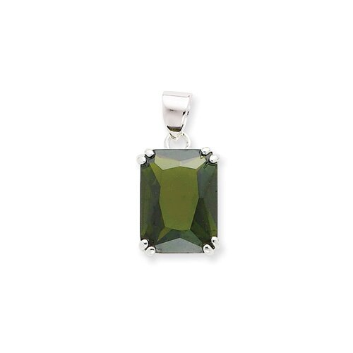 Jewelryweb Sterling Silver Rectangle Green CZ Pendant