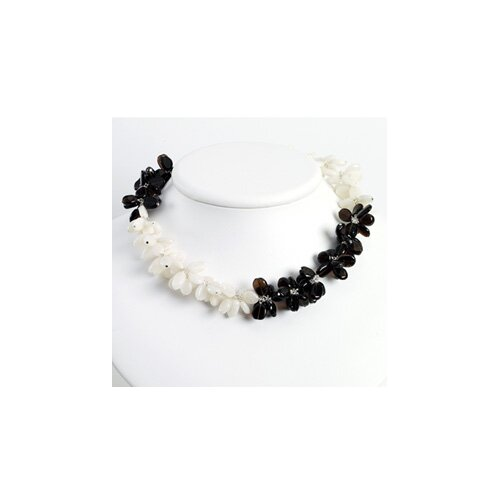 Sterling Silver Smokey Quartz White Jade Necklace - 16 Inch- Lobster Claw