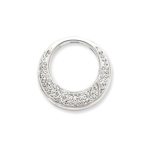 Jewelryweb Sterling Silver Crystal Circle Pendant with Swarovski Elements