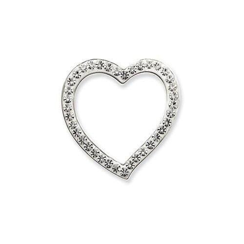 Jewelryweb Sterling Silver swarovski Crystal Heart Pendant