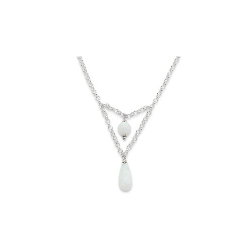 Jewelryweb Sterling Silver Synthetic Opal Necklace - 18 Inch- Lobster Claw