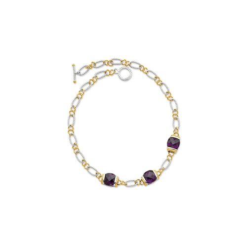 Jewelryweb Sterling Silver Vermeil Purple CZ Necklace - 16 Inch- Toggle