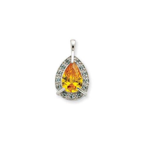 Jewelryweb Sterling Silver Yellow CZ Pendant