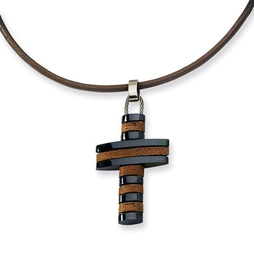 Stls Steel Wood Blk Color IP-plated Cross Necklace 18 In