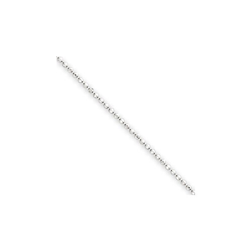14k White Gold 1.2mm Beaded Pendant Chain