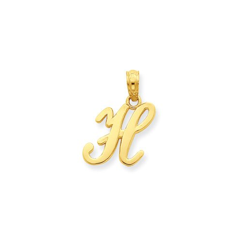 Jewelryweb 14k H Script Initial Pendant