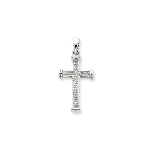 Jewelryweb Sterling Silver Rhodium Diamond Cross Pendant