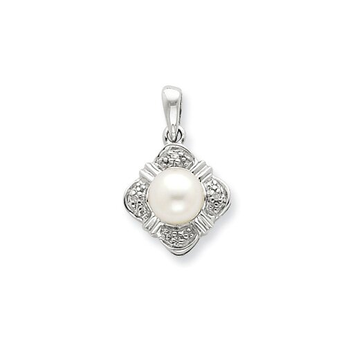 Jewelryweb Sterling Silver Rhodium FW Cultured Pearl and Diamond Pendant