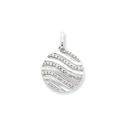 Jewelryweb Sterling Silver Diamond Wave Circle Pendant