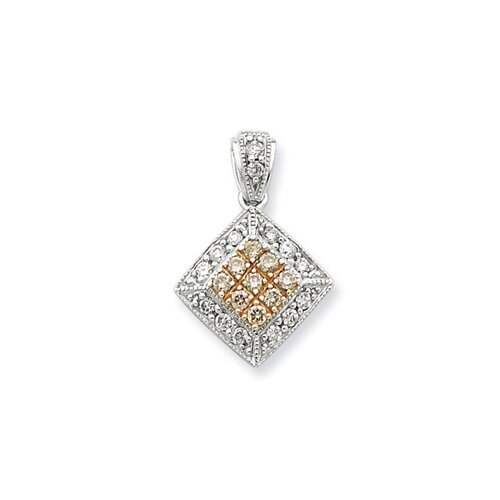 Jewelryweb Sterling Silver and Rhodium Diamond Pendant