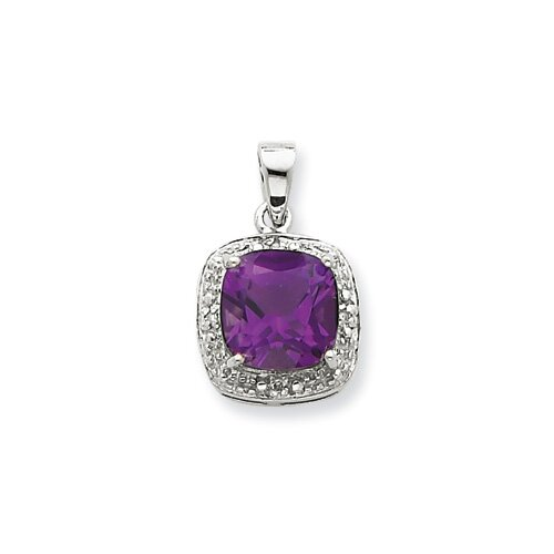Jewelryweb Sterling Silver Rhodium Amethyst and Diamond Pendant