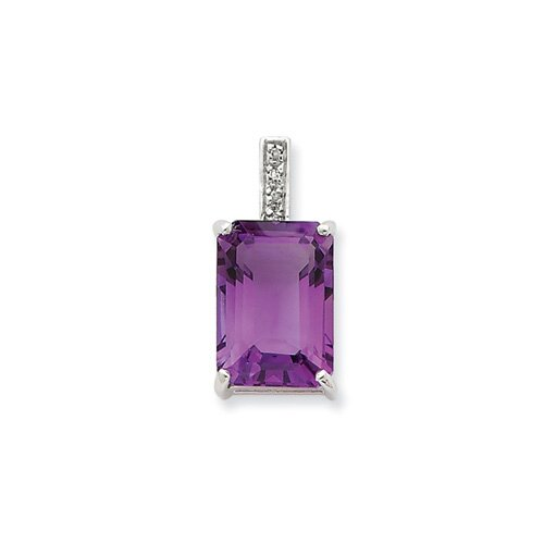 Jewelryweb Sterling Silver Rhodium Emerald-cut Amethyst and Diamond Pendant