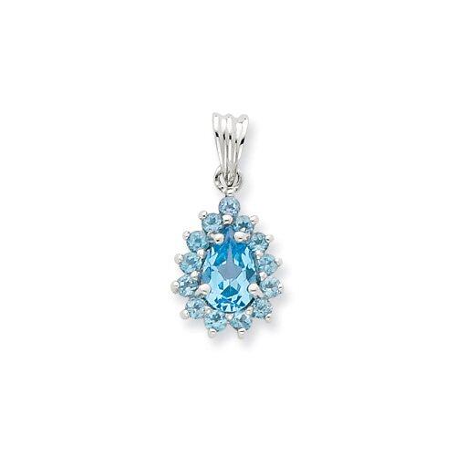 Jewelryweb Sterling Silver Light Swiss Blue Topaz Pear-shaped Pendant