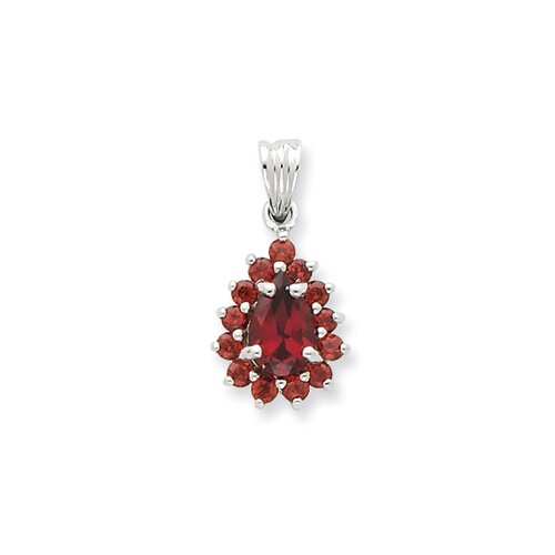 Jewelryweb Sterling Silver Rhodium Garnet Pear-shaped Pendant