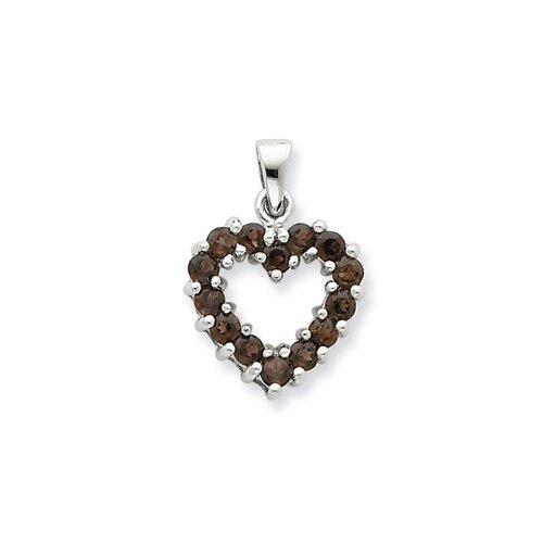 Sterling Silver Rhodium Smokey Quartz Heart Pendant
