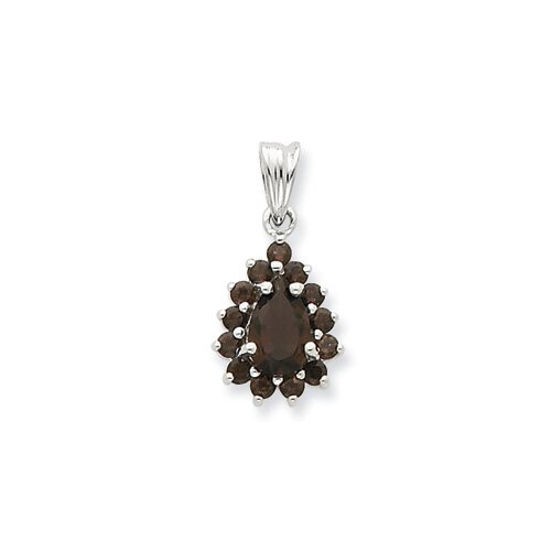 Jewelryweb Sterling Silver Rhodium Smokey Quartz Pendant