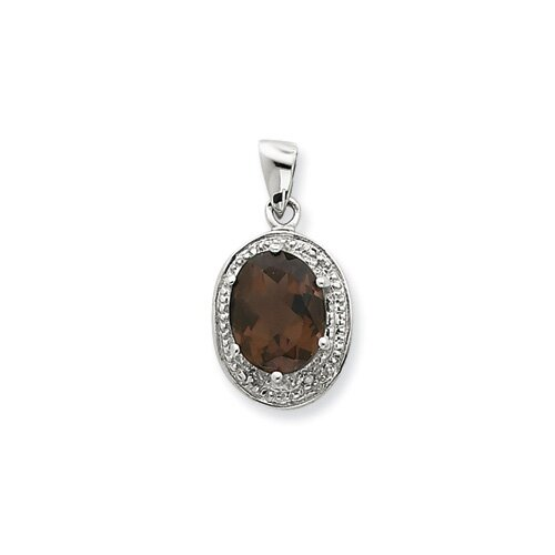 Jewelryweb Sterling Silver Rhodium Smokey Quartz and Diamond Pendant