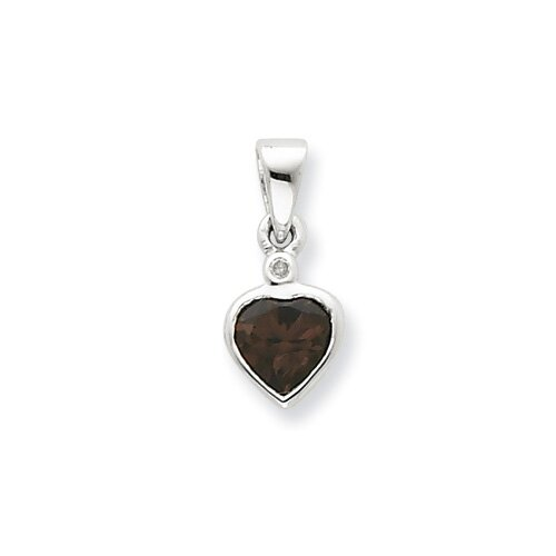Jewelryweb Sterling Silver Rhodium Smokey Quartz Diamond Pendant