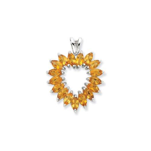 Sterling Silver Rhodium Marquise Peridot Heart Pendant