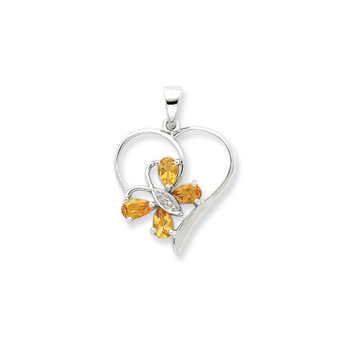 Jewelryweb Sterling Silver Rhodium Citrine and Diamond Butterfly Heart Pendant