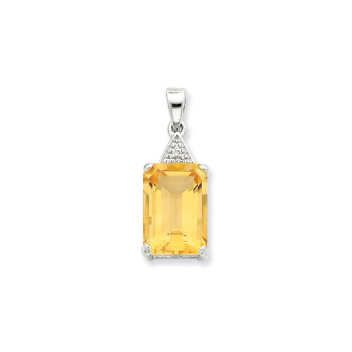 Jewelryweb Sterling Silver Rhodium Emerald-cut Citrine and Diamond Pendant
