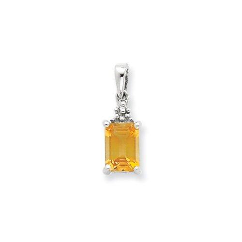 Jewelryweb Sterling Silver Rhodium Citrine and Diamond Pendant