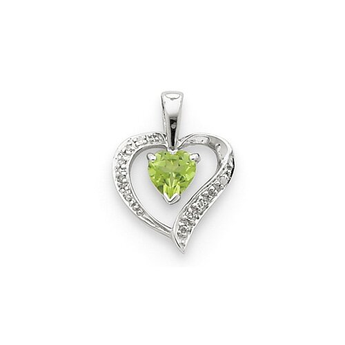 Sterling Silver Rhodium Heart Citrine and Diamond Heart Pendant