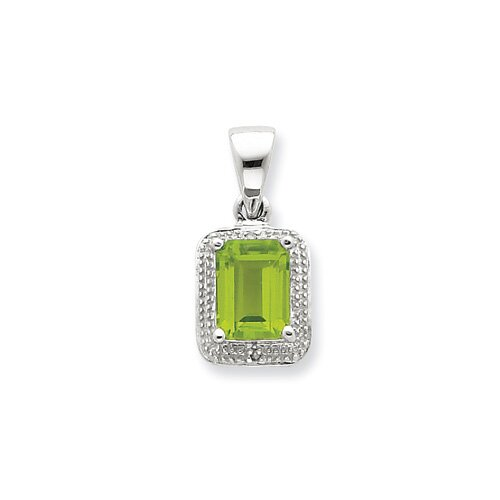 Jewelryweb Sterling Silver Rhodium Emerald-cut Peridot and Diamond Pendant