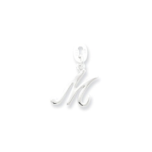 Jewelryweb Sterling Silver Initial M Pendant