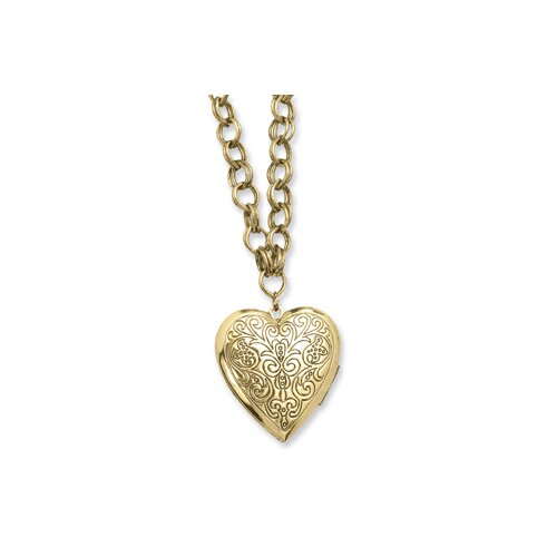 Jewelryweb Brass-tone Heart Locket 28 InchNecklace