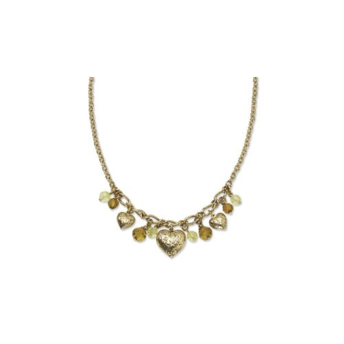 Jewelryweb Brass-tone Hearts With Light Green and Olive Crystal 16inch w Ext Necklace