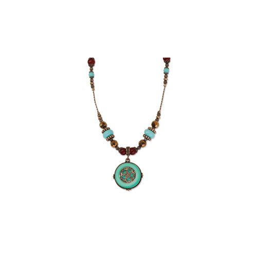Copper-tone Aqua and Brown Beads 16inch With Ext Necklace