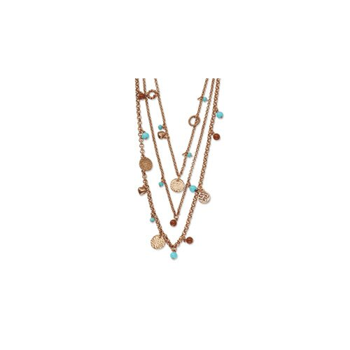 Copper-tone Aqua and Brown Beads Multistrand 24inch Necklace